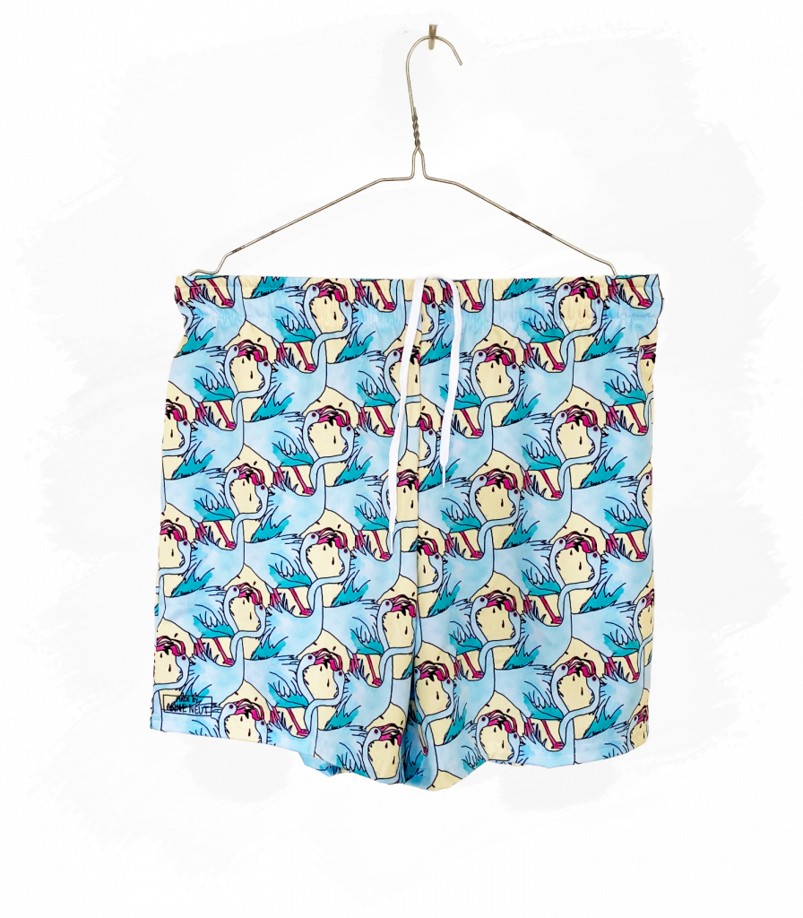 zwembroek tongende flamingo's